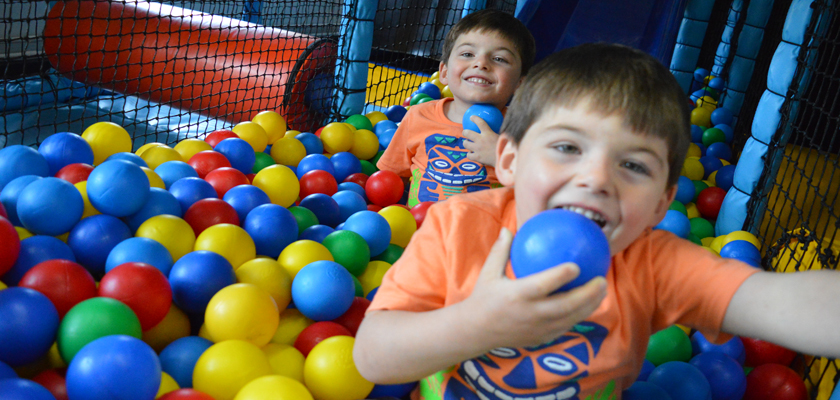 Twin boys play in the soft play at Southwell Leisure Centre