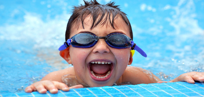 Boy enjoying swimming
